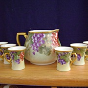Antique Handpainted Lemonade Set decorated with Grapes