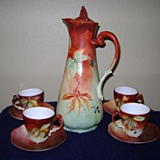 Antique Limoge Handpainted Chocolate Set