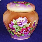 Vintage Ladies Handpainted Tobacco Jar