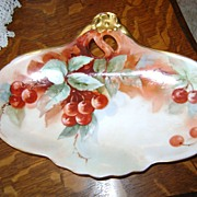 Antique Limoges Handpainted Tray with Cherries