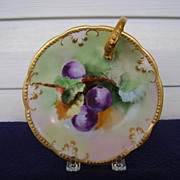 Antique Limoges Nappy decorated with Plums