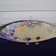 Antique Limoges Handpainted Celery Dish with Blackberries