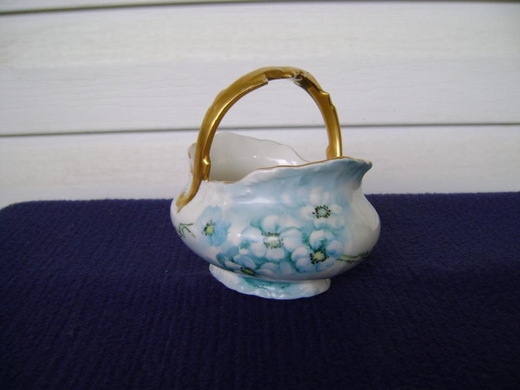 Vintage Limoges Handpainted Porcelain Basket with Flowers