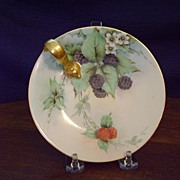 Antique Limoges Handpainted Lemon Dish with Berries