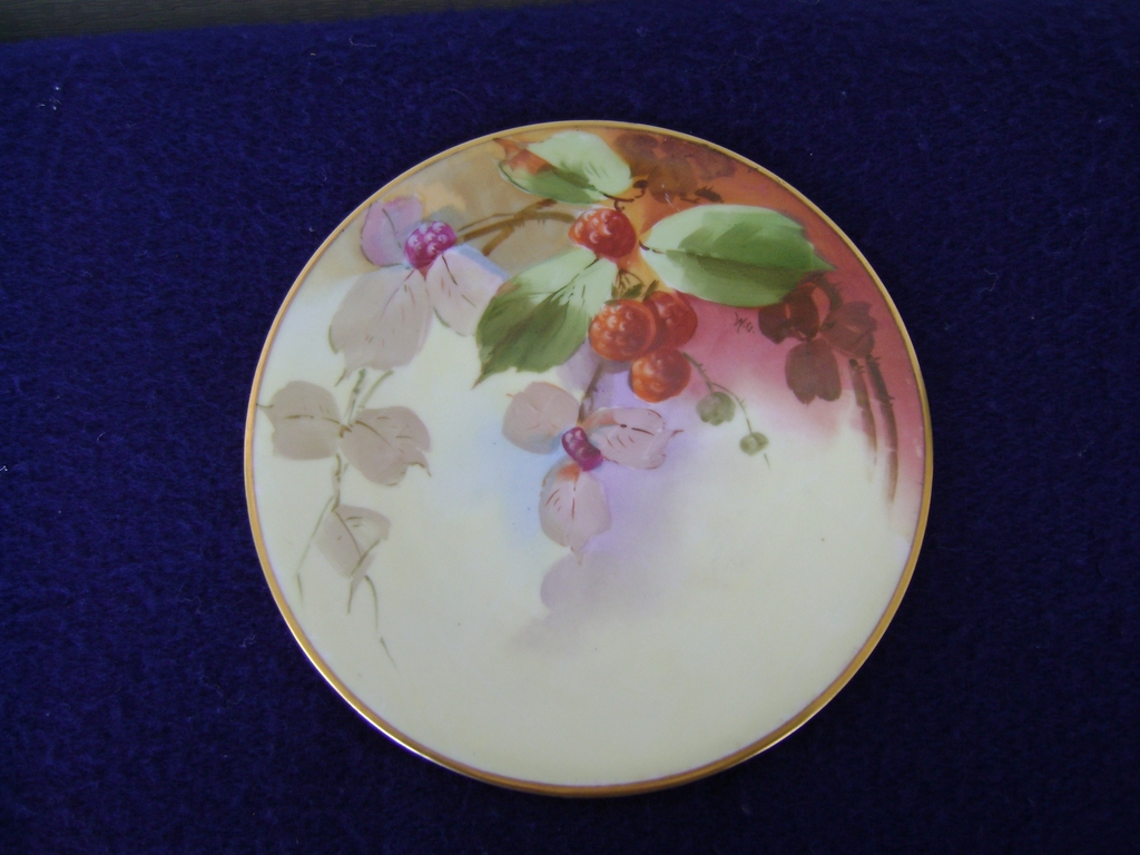 Vintage Raspberry decorated Plate, White's Art Co,