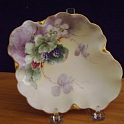 Antique Limoges Handpainted Candy Dish with Blackberries