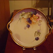 Antique Limoges Handpainted Plate with Blackberries