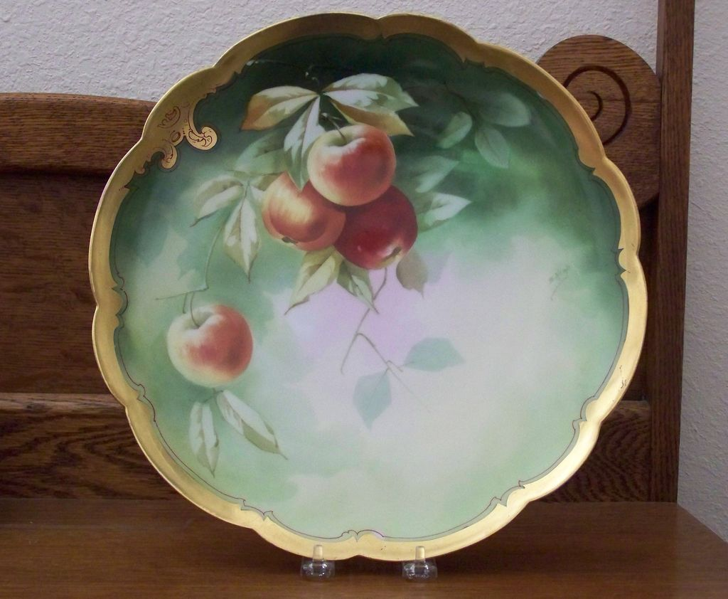 Antique Limoge Charger with Peaches by Pickard Artist Heap