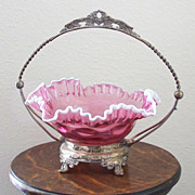 Vintage Brides Basket with Fenton Style Bowl