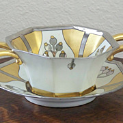 Pickard Aura Argenta Linear Handled Bowl with Underplate