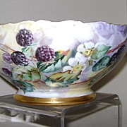 Handpainted Limoge Punch Bowl with Blackberries