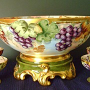 Incredible Limoges Grape Punch Bowl Set: Punch Bowl, Plinth/Base/Pedestal, and 4 Cups