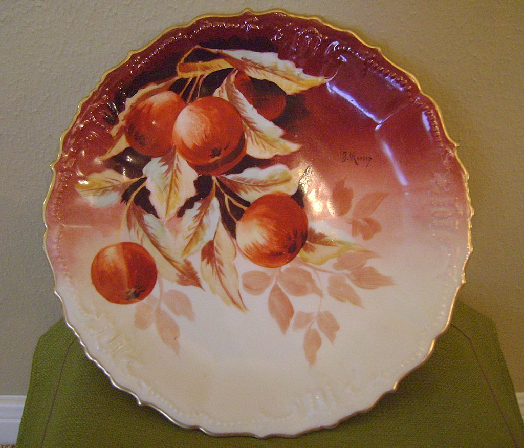Antique Charger by Marsay with Cherries