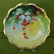 Vintage Handpainted Plate with Raspberries by Brauer