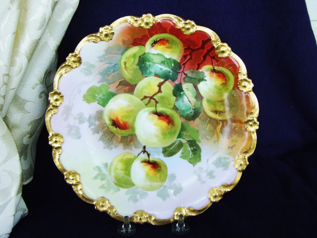 Antique Limoges Handpainted Plate with Apples