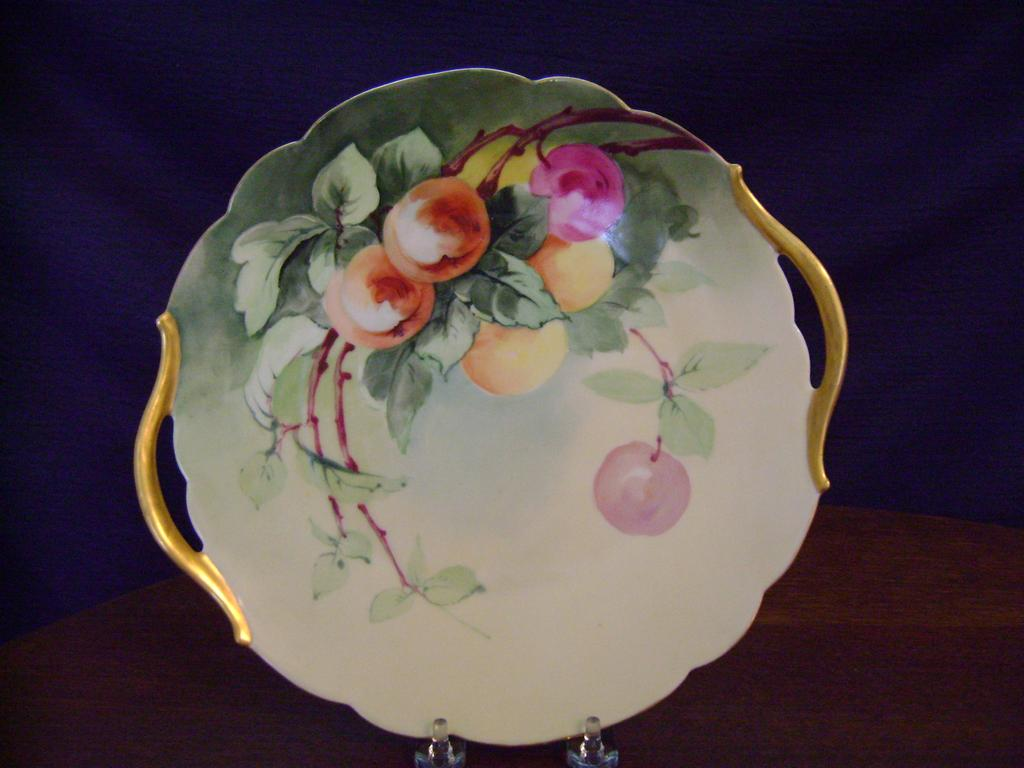 Vintage Limoges Handpainted Cake Plate with Cherries