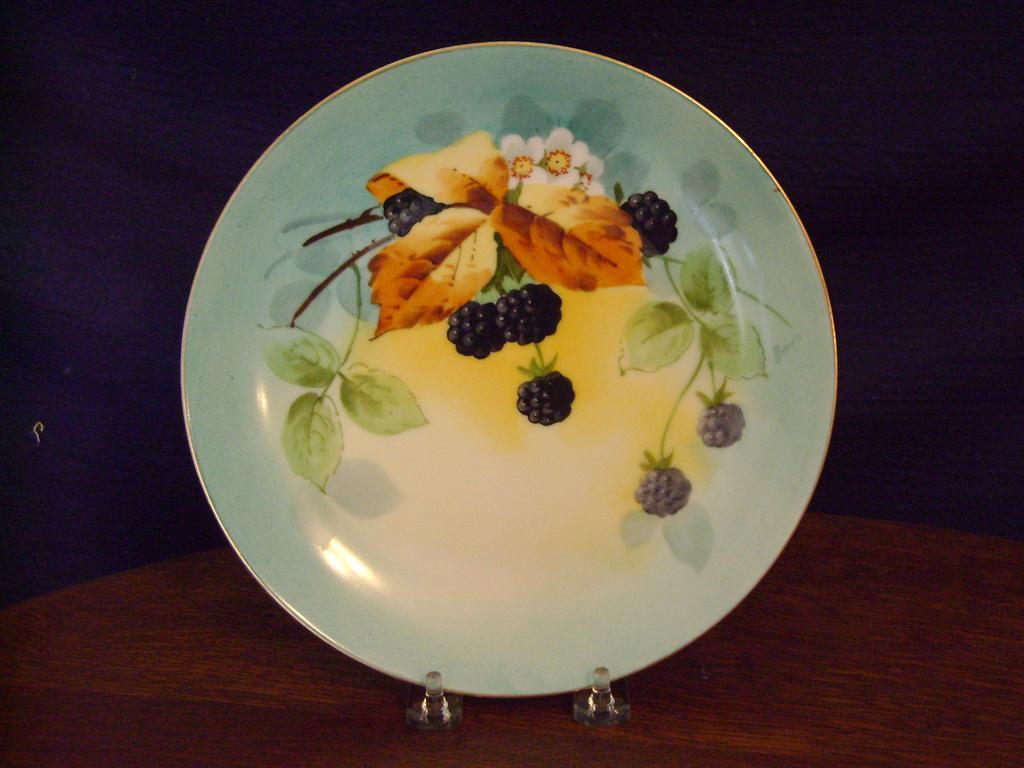 Vintage Bavaria Handpainted Plate with Blackberries Stouffer Studios