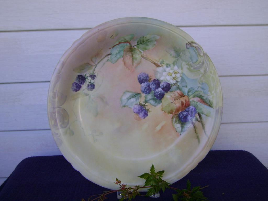 Vintage Limoge Handpainted Charger decorated with Blackberries