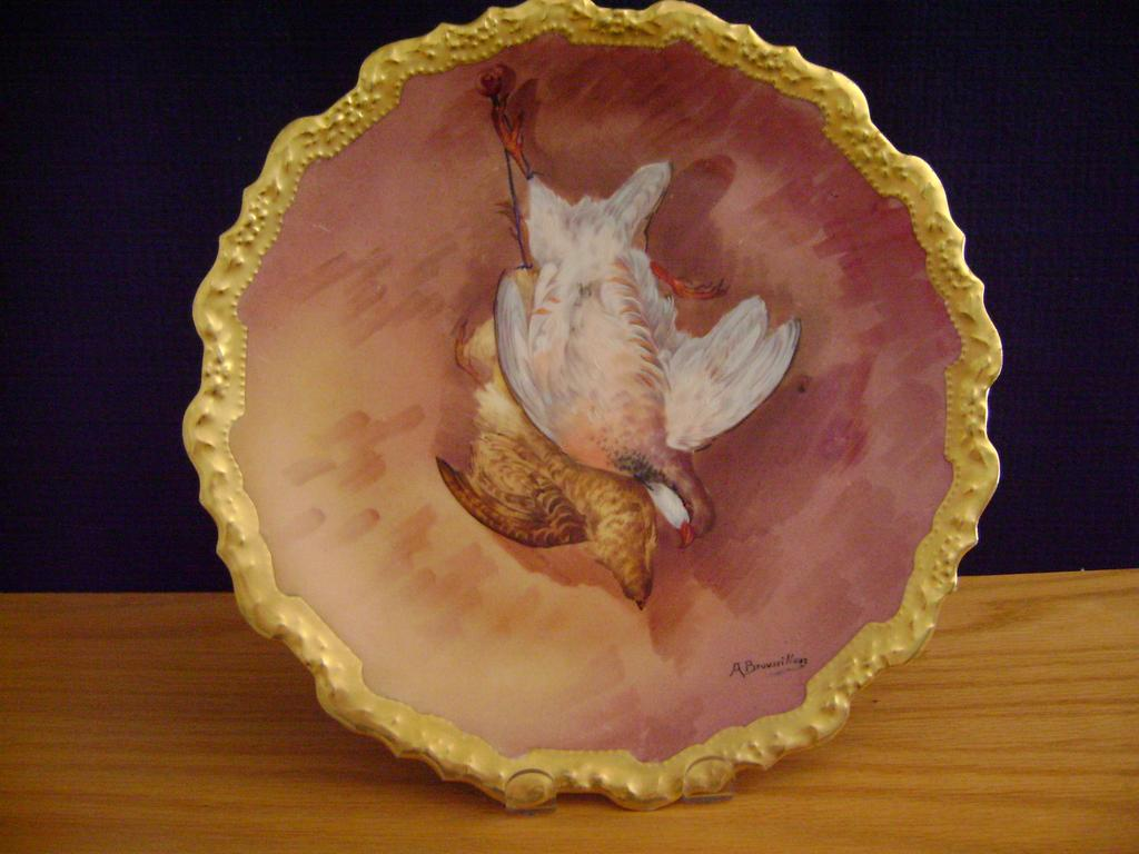Antique Limoges Handpainted Game Plate