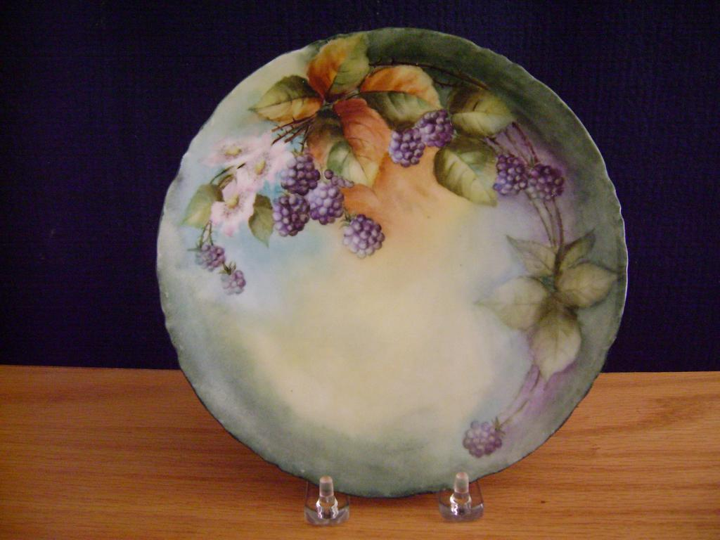 Antique Bavaria Handpainted Plate with Blackberries