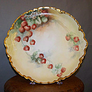 Antique Limoges Handpainted Charger plate Decorated with Strawberries