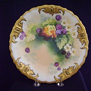 Antique Limoges Handpainted Blackberry Decorated Plate