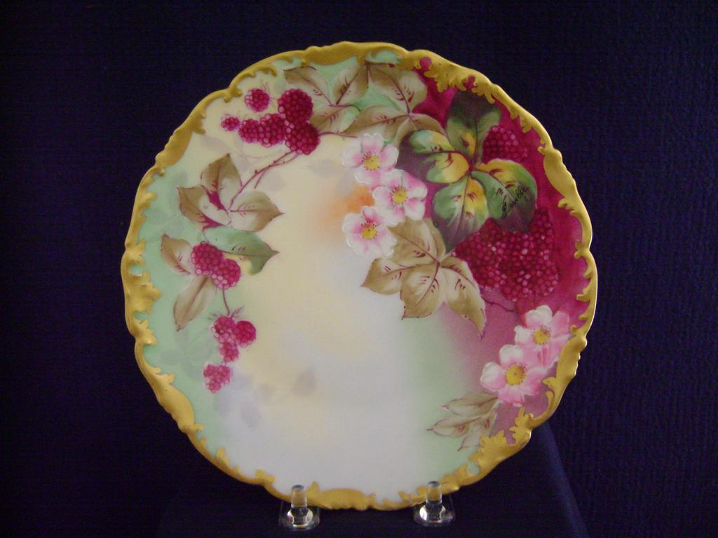 Vintage Limoges Handpainted Plate Decorated with Raspberries