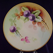Antique Limoges Handpainted Plate with Plums, Pitkin and Brooks