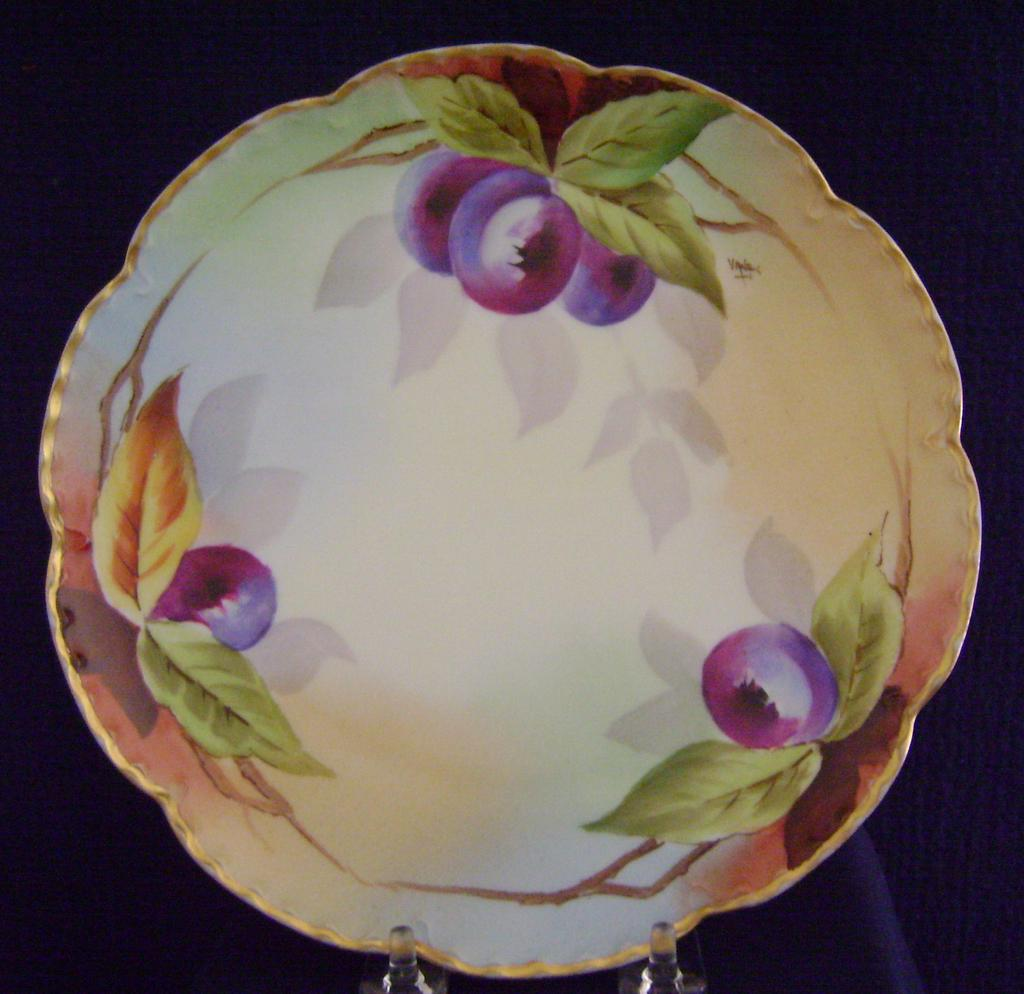 Vintage Limoges Handpainted Plate with Plums, Pitkin and Brooks