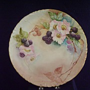 Antique Limoges Handpainted Charger with Blackberries