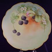 Antique Handpainted Plate with Berries, Pickard Studios