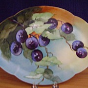 Antique Limoges Handpainted Snack Plate decorated with Plums