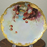 Antique Handpainted Pickard Haviland Charger with Strawberries LeRoy