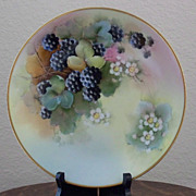 Antique Limoges Handpainted Plate with Blackberries