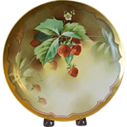 Antique Handpainted Plate with Strawberries by Pickard Artist, Heap