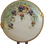 Antique Limoges Handpainted Charger with Blackberries, Luken