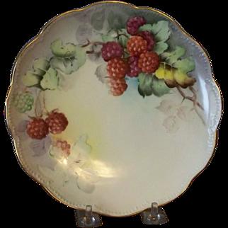 Handpainted Plates with Raspberries and Blackberries