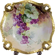 Antique Limoges Hand Painted Open-edged Plate with Grapes