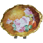 Handpainted Limoges Bowl with Roses, Artist Signed