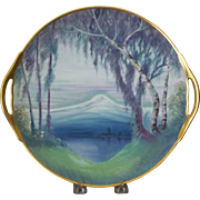 Pickard Porcelain, Signed Marker, Mountain Reflection with Elm Trees