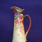 Antique Limoges Tankard Pitcher decorated with Currants