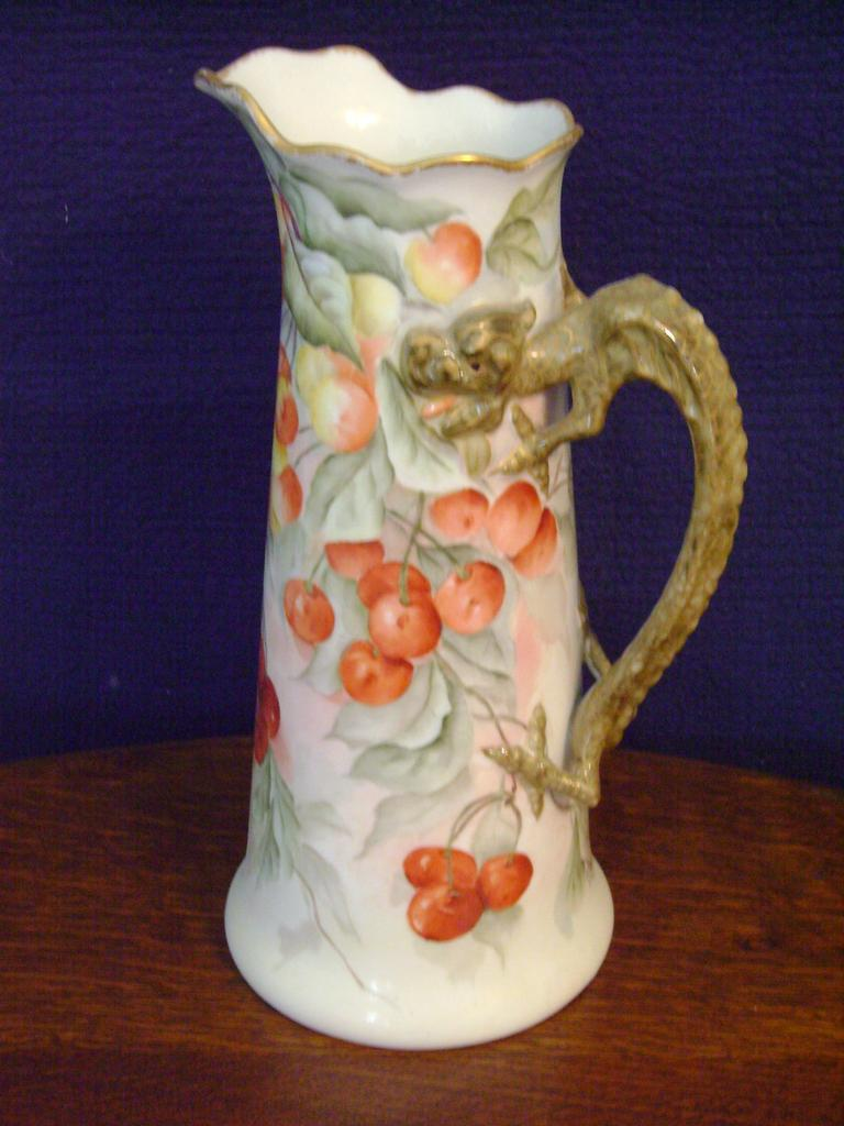Antique Limoge Handpainted Tankard Pitcher decorated with Cherries