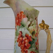 Antique Limoge Tankard Pitcher decorated with Currants