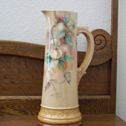 Antique Limoges Handpainted Tankard Pitcher with Cherries