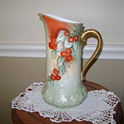 Vintage Limoge Handpainted Pitcher with Cherries