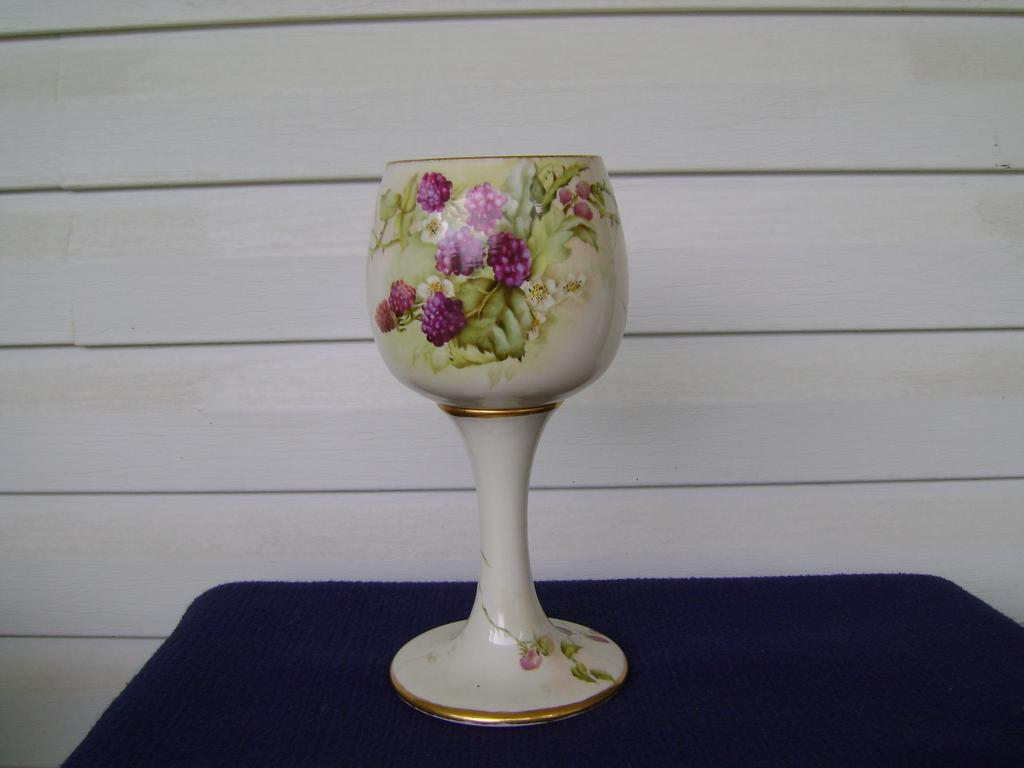 Antique Belleek handpainted Blackberry Chalice