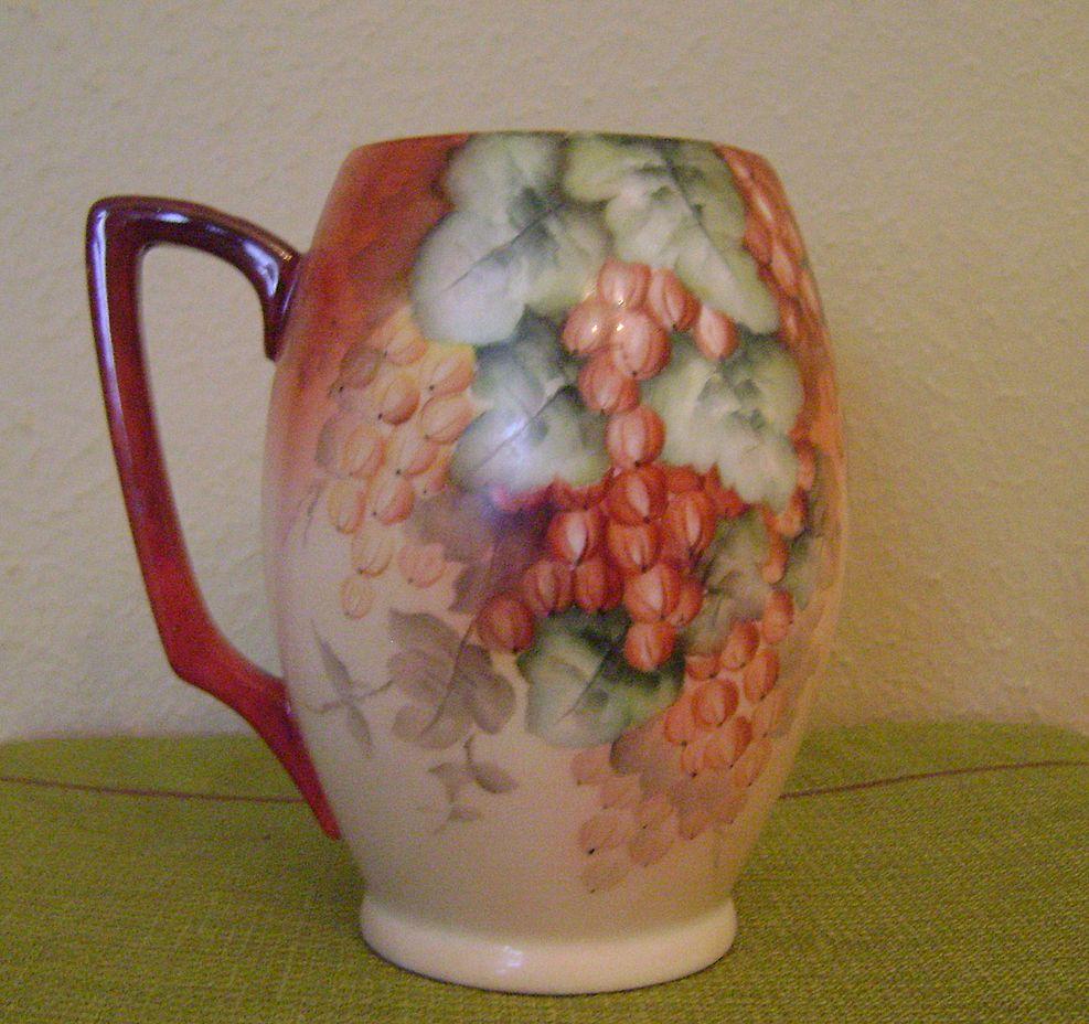 Vintage Handpainted Tankard Mug with Currants