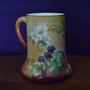 Antique Limoges handpainted Tankard Mug Decorated with Blackberries