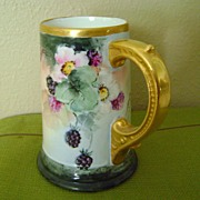 Limoges Handpainted Tankard Mug with Blackberries
