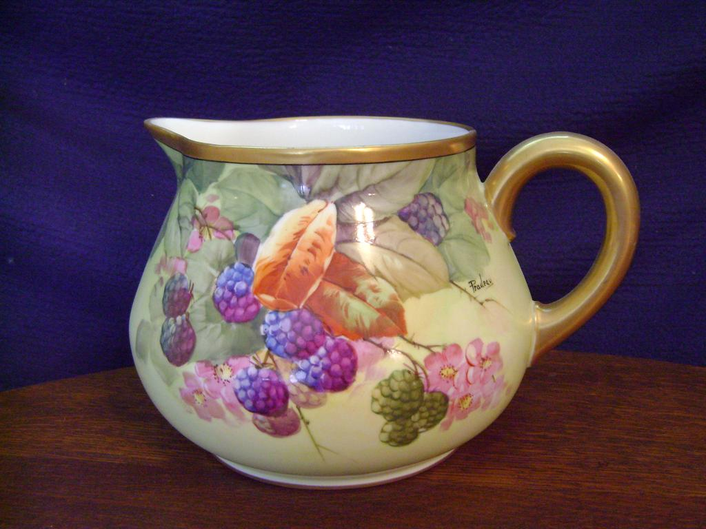 Antique Limoges Handpainted Cider Pitcher with Berries